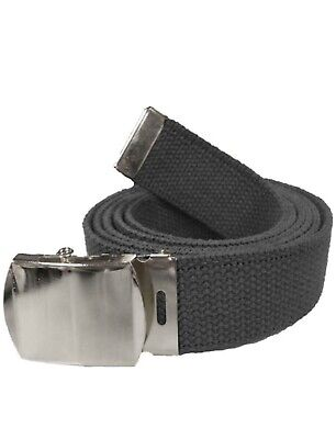 New Adjustable 56;' Assorted Canvas Military Web Belt Black Silver Buckle