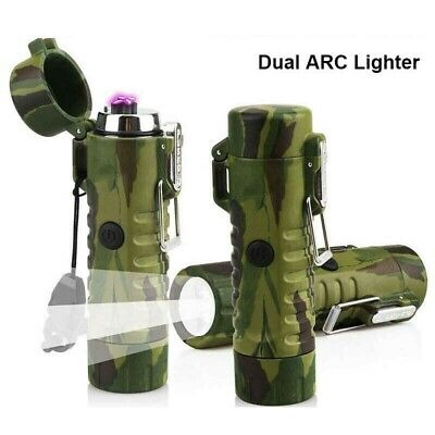 USB Charging Dual Arc Flameless Cigarette Lighter with Flashlight Waterproof