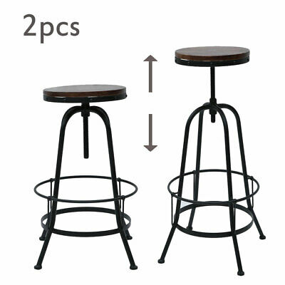 Adjustable Industrial Vintage Retro Metal Bar Stool Kitchen Counter Chair