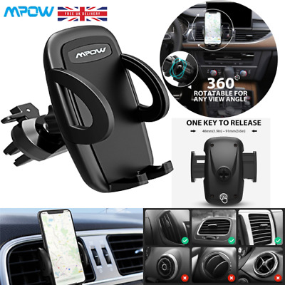 Mpow Universal Car Mobile Phone Holder Air Vent Mount Cradle 360 Swivel for GPS