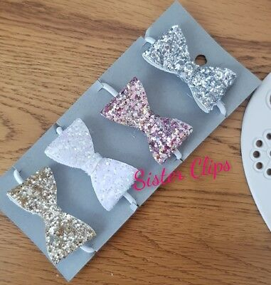 Girls Handmade 4 baby/toddler small mixed Glitter Hair Bow bobbles
