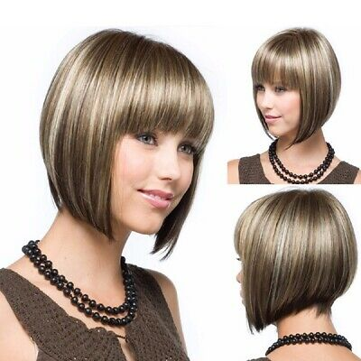 Women Short Straight Hair Wigs BOB Cool Style Cosplay Party Full Wig w/Bangs UK