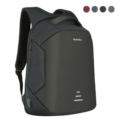16'' Mens Anti-theft Waterproof Laptop Backpack Travel Shool Bag With USB Port