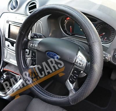 100% Genuine Leather Black Steering Wheel Cover Ford Mondeo Estate