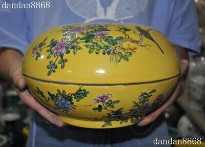 "Marked ""大雅齋"" Chinese dynasty Wucai porcelain peony flower bird Storage Box Boxes"