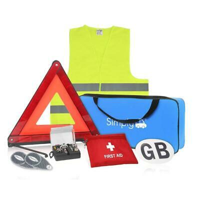 Car Europe Travel Kit 7 piece set Triangle Vest GB Plate Bulb & First Aid Kit