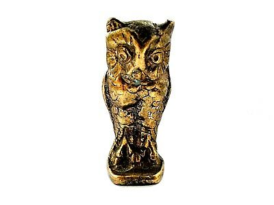 ANTIQUE SOLID BRASS Miniature OWL