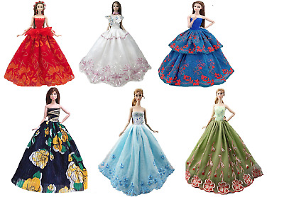 Doll Dress Gown Clothes Barbie Princess Wedding Dresses Fashion Vintage Outfit