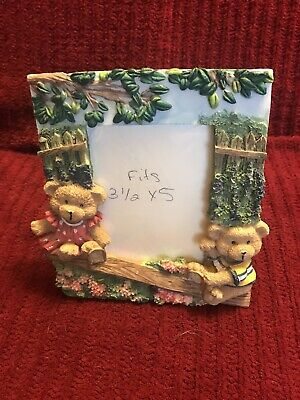 """Sea Saw Teddy Bears 3.5"""" x 5"""" Picture Frame Tabletop Used"""