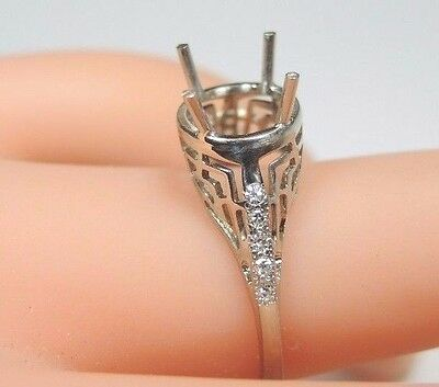 Antique Art Deco Setting Mounting 14K White Gold Hold 7-8MM Ring Size 6 UK-L1/2