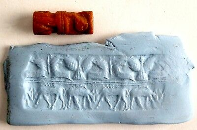 Akkadian two register stone seal circa 2300BC to 2200BC. Rutting Deer, Lions.