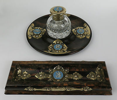 Coromandel desk set with jasperware cameos c1815. Antique writing pen inkwell