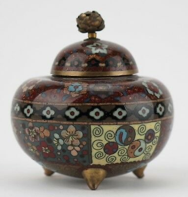 Japanese cloisonne incense vessel and lid. c1890