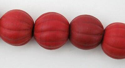 Glass trade bead necklace. North Indian / Nepal red round melon beads.