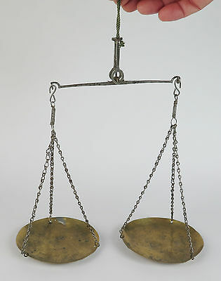 18th century pan scales stamped 'T.F. Barg Asens'. Steel beam and brass pans