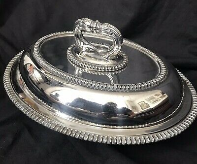 Antique Silver Plate Lidded Tureen, Rope Work Shell Pattern West & Son Dublin