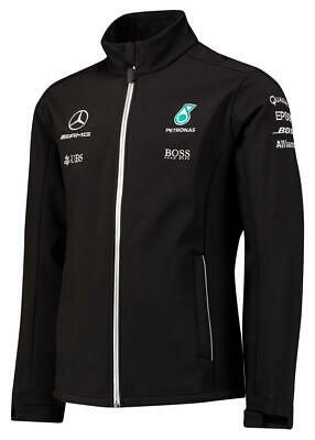 Mens F1 Mercedes AMG Petronas Black Softshell Team Jacket Formula 1 Size XS