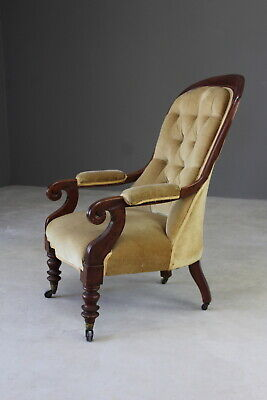 Antique Victorian Upholstered Button Back Armchair Chair