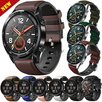 Leather&Silicone Wrist Band Strap Wristband 22mm for Samsung/Garmin/Huawei Watch