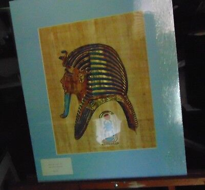 Painting on papyrus, King Tut mask.
