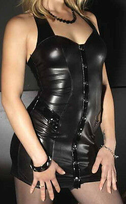 Cantanzaro Mini Kleid Schwarz Lack Latex Wetlook Gr. M 38