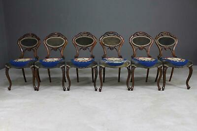 6 Quality Antique Victorian Walnut Dining Chairs C. Culyer of Holland & Sons