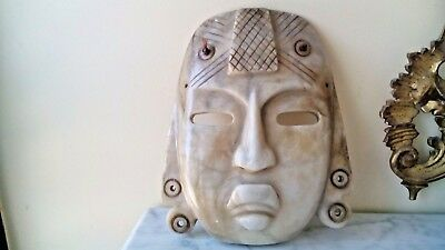 "Antique Pre Columbian Hand Carved Huge 11.25""H Mask ""Jade?"" Or Marble"