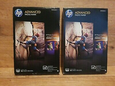 2 x packs of HP Advanced 10x15cm Glossy Photo Paper - 60 Sheets in each pack