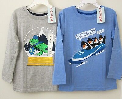 Lot of 2 Cat&Jack Toddler Boy 5T Gray Dino Blue Penguin Long Sleeves Casual Tee