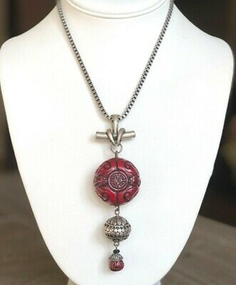 CHICO'S Carved Asian Red Resin Tassle Pendant Antiqued Silver Tone LONG NECKLACE