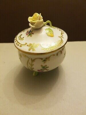Herend Porcelain Bowl And Cover Painted With Flowers And Butterflies