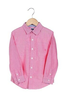 JANIE & JACK Boy Oxford Shirt Size 4 Red Pink Button Down Kids Long Sleeve