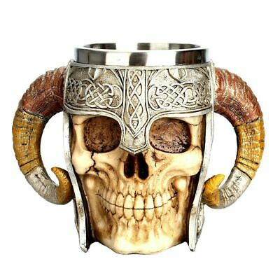 Coffee Mug Resin Material Striking Warrior Tankard Viking Skull Horn Design Cup