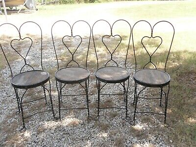 Vintage  4 Wrought  Iron Ice Cream Parlor Chairs