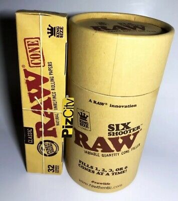 *£19.99* RAW Six Shooter Cone Filler + x1 Pack RAW Classic Kingsize Cones (32pk)