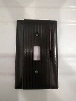1 Vintage Bakelite Double Light Switch Cover Plate Ribbed with Border NOS
