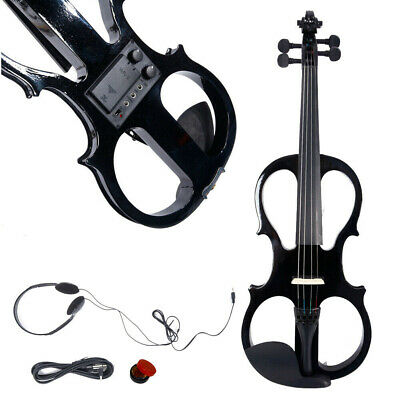 Black 4/4 Size Electric Violin Set w/Case Bow Rosin Headphone for Music Lover