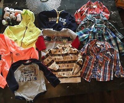 Lot Of 10 Long Sleeve Boys Shirts, 18 Month Button Downs, Hoodies, & Sweatshirts