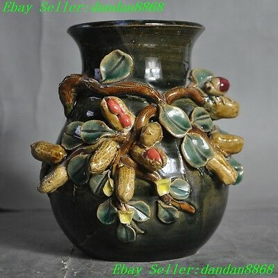Old Chinese wucai porcelain Peanuts longevity lucky Vase flower bottle pot tanks