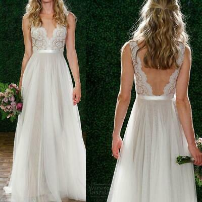 Backless Sexy Wedding Dress Bead Lace Long V-Neck Formal Bridal Gown Beach New