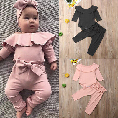 2PCS Toddler Kids Baby Girls Ruffle Tops Pants Pink Outfits Clothes Tracksuit