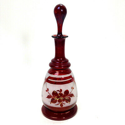 Vintage Ruby Red Glass Bottle With Stopper Decanter