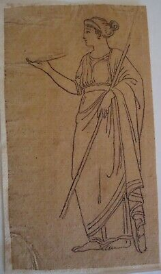 Ancient Ink Drawing on Verge 18 century 1700's Woman Hold Pole & Tray or book NR
