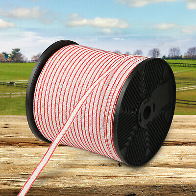 400m Poly Tape Roll Electric Fence Energiser Stainless Steel Insulator Red White