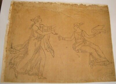 Ancient Ink Drawing on Verge 18 century 1700's Scholar & Woman in interior Scene