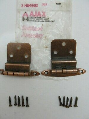 """VTG AJAX NOS Aged COPPER Plated Steel Cabinet Door HINGES 3/8"""" Inset One Pair"""