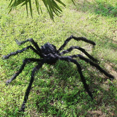 200CM Black Large Plush Realistic Hairy Spider Halloween Haunted House Props US