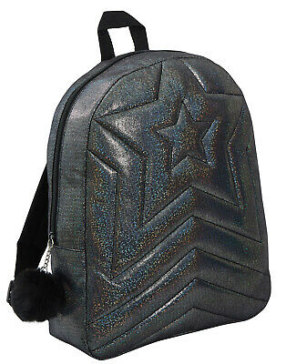 Girls Back To School Bag Teens Quilted Shimmer Black Backpack Juniors Rucksack