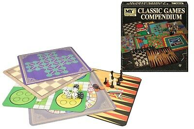 10 Classic Premium Traditional Board Game Set Snakes Ladders Ludo Chess Checkers