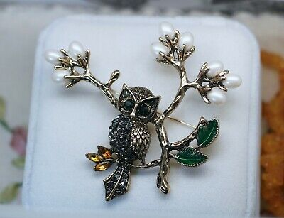 Vintage Jewellery Brooch Owl Rhinestone Antique Deco Dress Jewelry